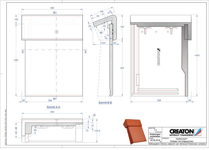 Product CAD file KAPSTADT concrete shed roof tile verge left PultOGL