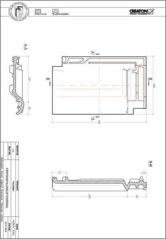 Product CAD file FUTURA ridge connection ventilating tile FALZ