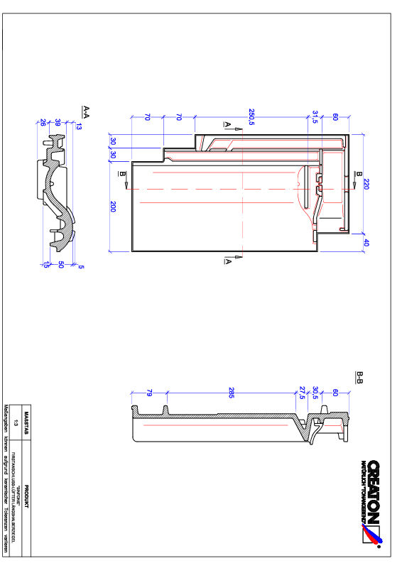 Product CAD file SINFONIE ridge connection ventilating half-width tile FALLH