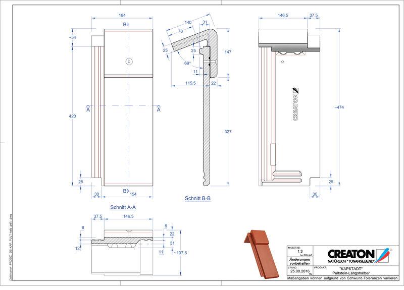 Product CAD file KAPSTADT concrete shed roof tile Pult-halb