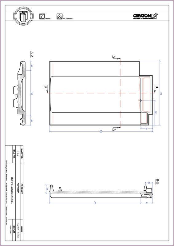Product CAD file TERRA OPTIMA double roll tile DWZ