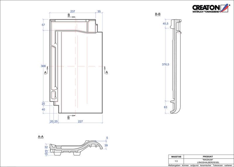 Product CAD file MAGNUM half-width tile LH
