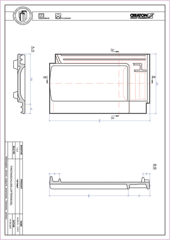 Product CAD file TERRA OPTIMA ridge connection ventilating tile FALZ