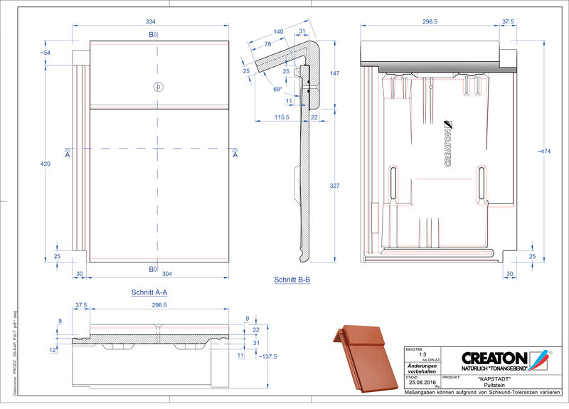 Product CAD file KAPSTADT concrete shed roof tile PULTSTEIN