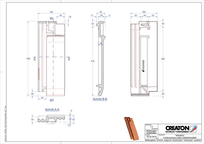 Product CAD file MIKADO ridge connection ventilating half-width tile FALLH