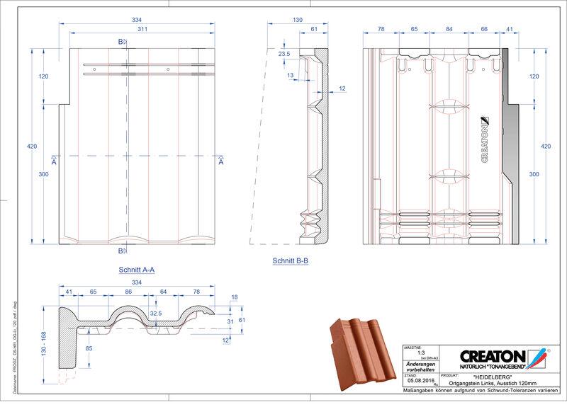 Product CAD file HEIDELBERG chaperonpan gevelpan links beton PultOGL-120