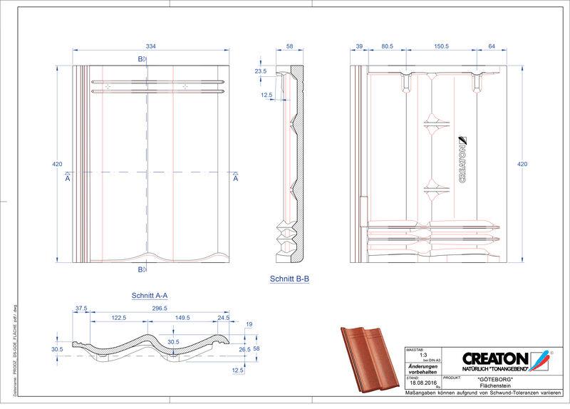 Product CAD file GÖTEBORG dakpan Flaechenstein