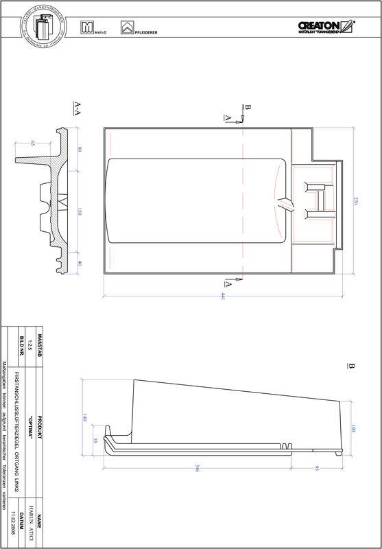 Product CAD file TERRA OPTIMA ridge connection ventilator verge left FALOGL
