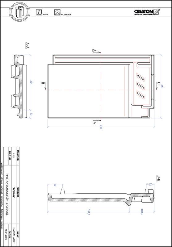 Product CAD file DOMINO ridge connection ventilating tile FALZ