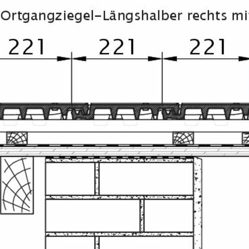 Product technical drawing VISIO OG half-width tile right with barge board OLH