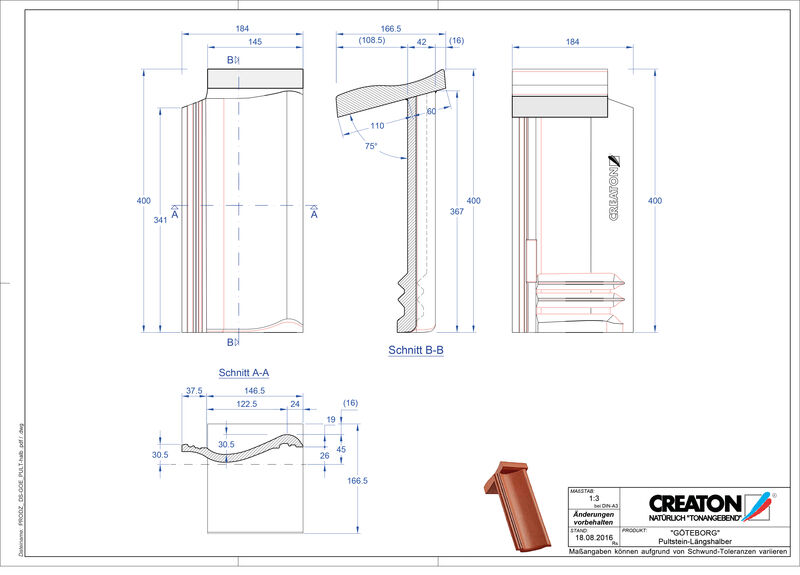 Product CAD file GÖTEBORG chaperonpan beton Pult-halb