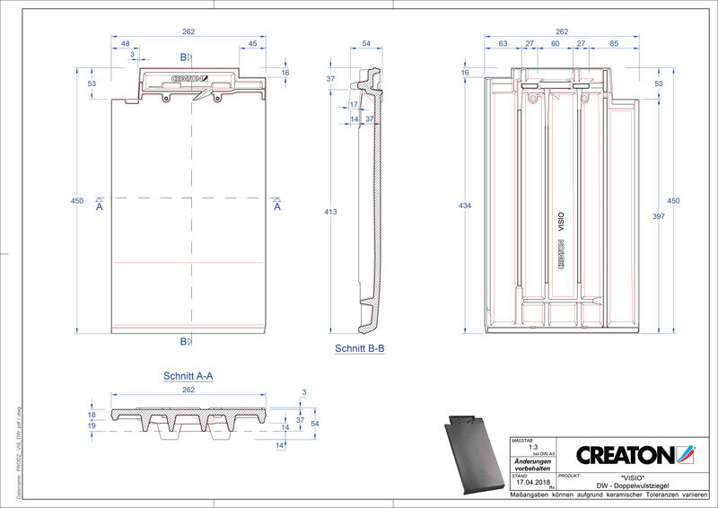 Product CAD file VISIO double roll tile DWZ