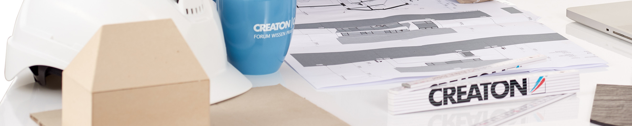 Desk with construction plan