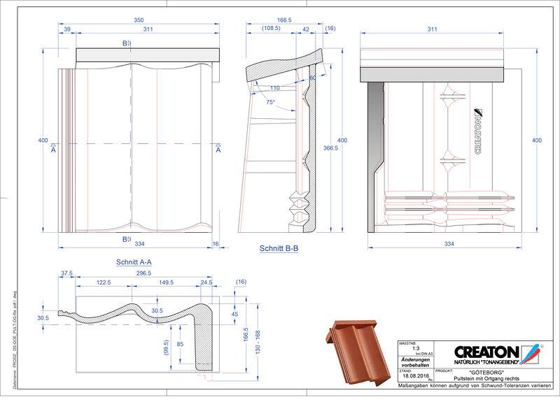 Product CAD file GÖTEBORG chaperonpan gevelpan rechts beton PultOGR