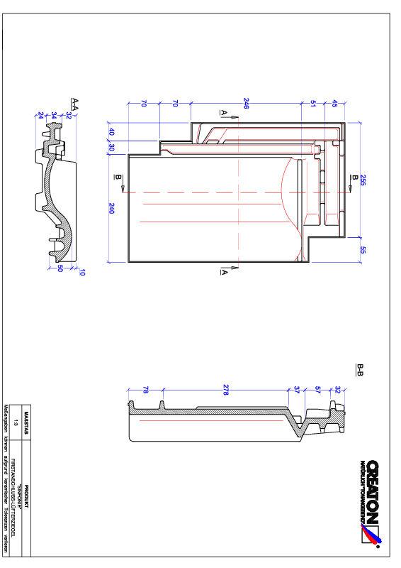Product CAD file SINFONIE ridge connection ventilating tile FALZ