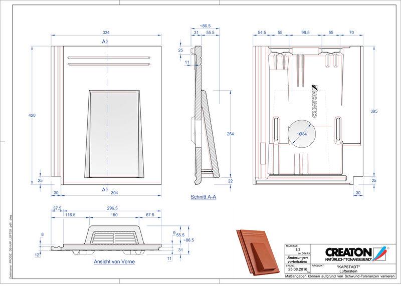 Product CAD file KAPSTADT ventilatiepan Luefterstein