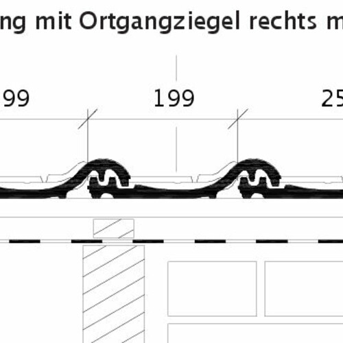 Product technical drawing HARMONIE OG right with verge sheet metal and field tile ORF