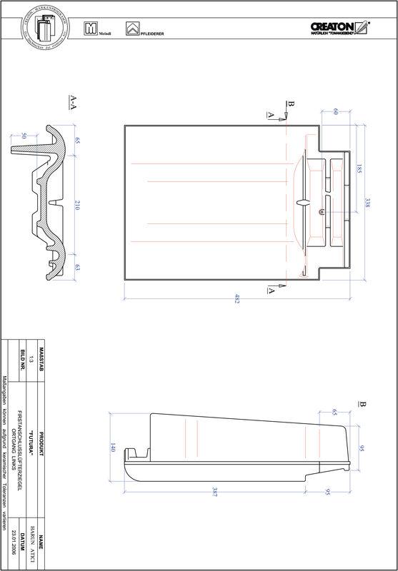 Product CAD file FUTURA ridge connection ventilator verge left FALOGL