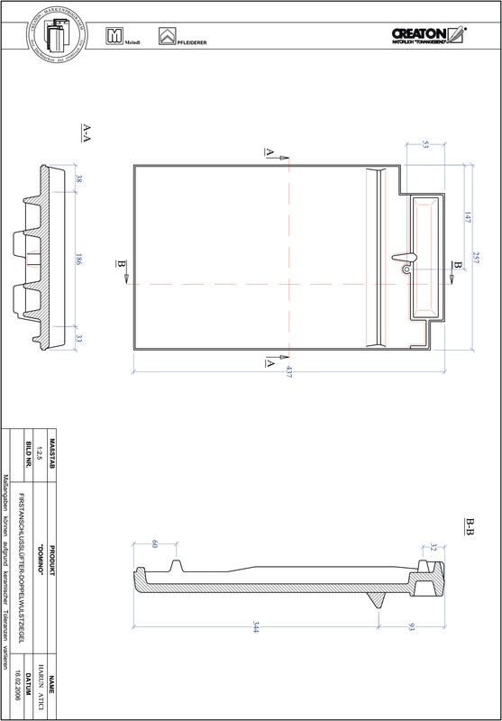 Product CAD file DOMINO ridge connection ventilating double roll tile FALDWZ