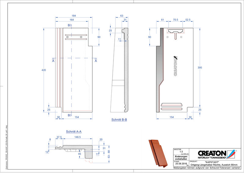 Product CAD file KAPSTADT gevelpan rechts OGR-halb-90