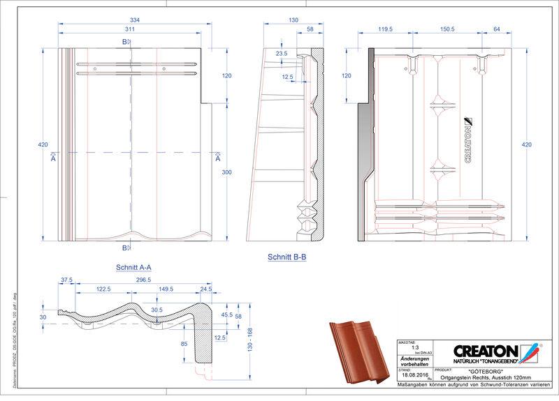 Product CAD file GÖTEBORG chaperonpan gevelpan rechts beton PultOGR-120