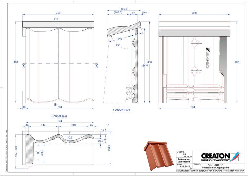 Product CAD file GÖTEBORG chaperonpan gevelpan links beton PultOGL